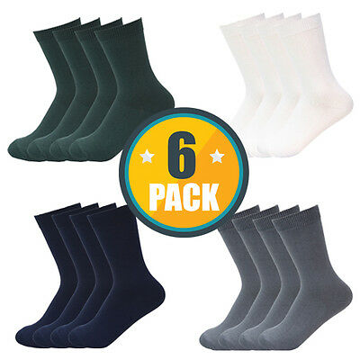 6PACK x HIGH QUALITY SCHOOL SOCKS BOYS GIRLS COTTON WHITE,NAVY,GREY,GREEN,BLACK