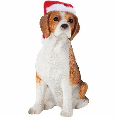 Sandicast Beagle with Santa Hat Christmas Ornament