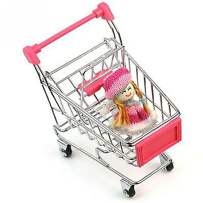 Cute Stainless Steel Mini Supermarket Handcart Shopping Utility Cart Pink