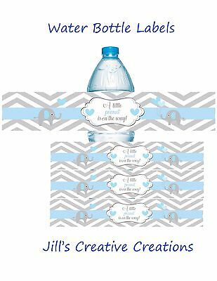 Baby shower water bottle labels, Elephants, Elephant Baby Shower, Bottle Labels