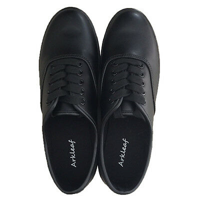 Arkleaf Women's Oil Resistant Non Slip Work Safety Black Leather Shoes unisex