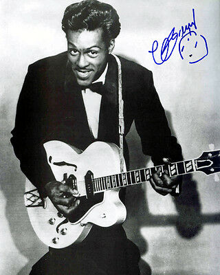 Chuck Berry BLACK AND WHITE Autographed Preprint VINTAGE GUITAR Signed Photo