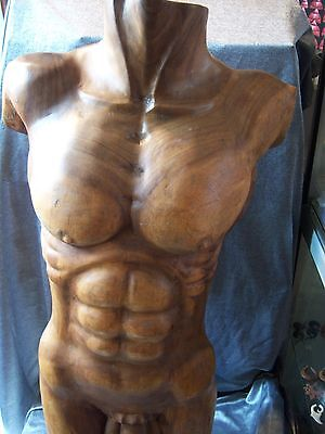 Hand Carved Wooden Man's Male Torso 83cm