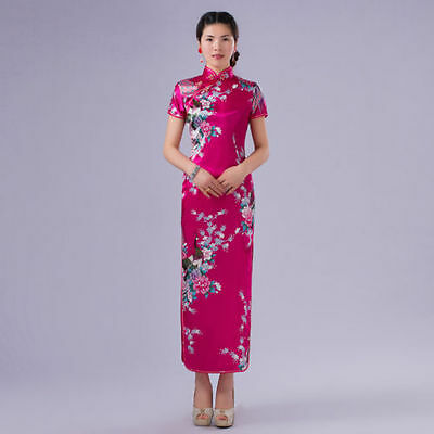 New Charming Chinese women's Long Dress Cheongsam evening dress Gown QiPao Rose