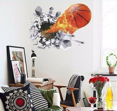 wandtattoo wandsticker basketball kind jugend ball spieler aufkleber korb feuer eur 7 98. Black Bedroom Furniture Sets. Home Design Ideas