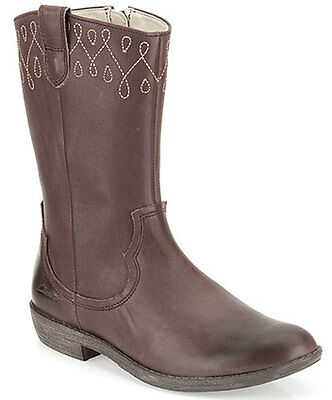 BNIB Clarks Girls Biddie Dress Brown Leather Cowboy Style Boots F /& G Fitting