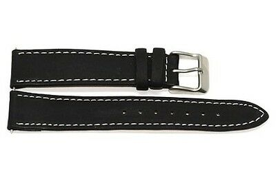 18Mm Dark Gray High Quality Stitched Genuine Leather Watch Band Strap