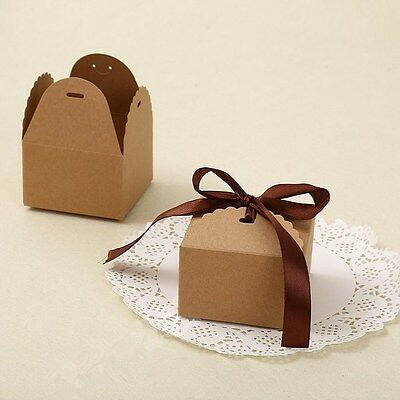 10pcs Brown Paper Box Wedding Party Candy Cake Gift Boxes Square And Rectangle