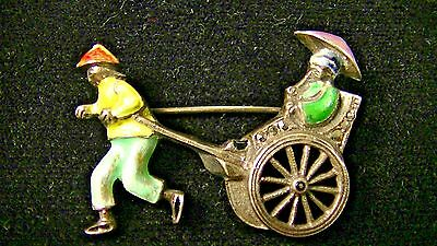 Antique Pin, Brooch, Enameled Silver & Marcasite Chinese Rickshaw, Germany