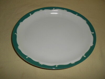 Pair of VINTAGE SYRACUSE CHINA  WINTERGREEN SCROLL OVAL PLATES Restaurant Ware