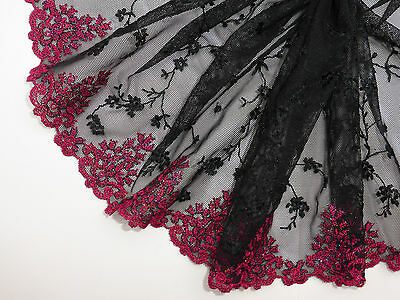 "*The Place For Lace* Black and Rose Red Embroidered Tulle Lace Trim 7.5""/19cm"