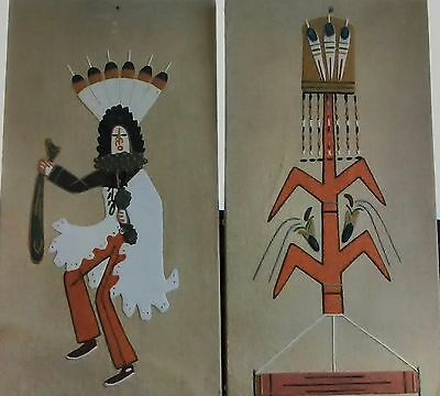 PAIR of VINTAGE NAVAJO SAND PAINTINGS by WALLACE WATCHMAN