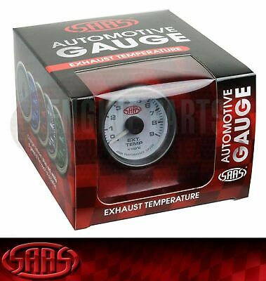 SAAS Exhaust Temperature Gauge 52mm 0-900 Degrees Temp Probe EGT Pyro Gas White