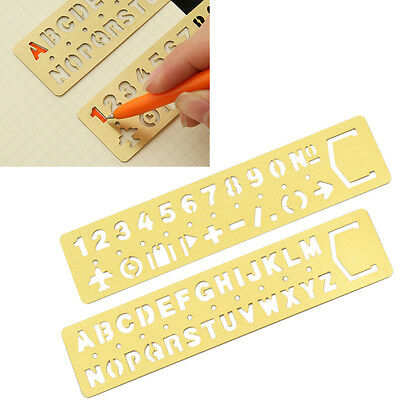 Brass Number Letters Template Ruler Drawing Tool Drafting Stencil Kid Craft