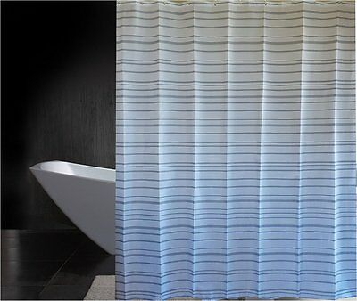 Grey white pinstripes shower curtain 1.8m new free shipping