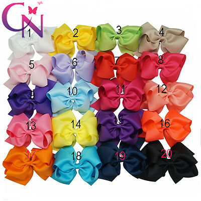 """6"""" Large Baby Girls Hair Bows Clips Childrens Grosgrain Ribbon Hairbow Hair Bow"""