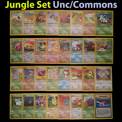PL Unlimited COMPLETE Pokemon JUNGLE 32-Card Uncommon/Common Set/64 Pikachu TCG