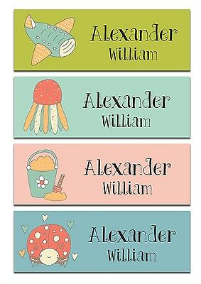 68 Personalized kid Name back to school Stickers cute 4 patterns