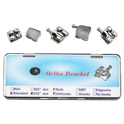 NEW Dental Orthodontic Metal Brackets Braces Standard Roth 018 3 4 5 With hooks