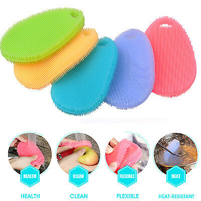 New Silicone Dishes Cleaning Brush Antibacterial Wash Vegetable Fruits Scrubber