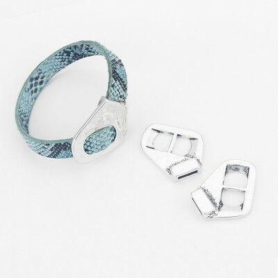 3 Antique Silver Buckle Clasp Bracelet Findings For 5mm-10mm Flat Leather