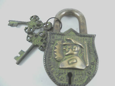 Vintage Antique Style Functional Handmade Brass Lock & Iron Pad Lock With Key