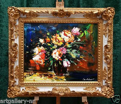 "Impressionist ""roses Bouquet On The Vase"" Original Painting By Knife Stretched"