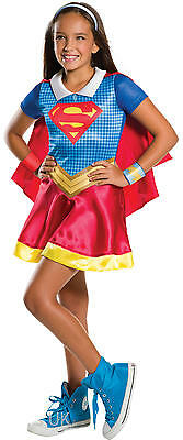 Girls Collared Supergirl Superhero Book Day Week Fancy Dress Costume Outfit 3-10