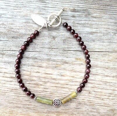 Garnet, Connemara marble Celtic Bracelet. Irish made jewellery traditional gift