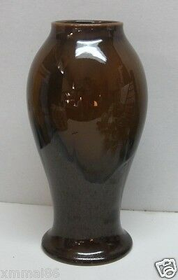 Arts & Crafts  Japanese Nippon Dripped Brown Glaze Studio Pottery Vase