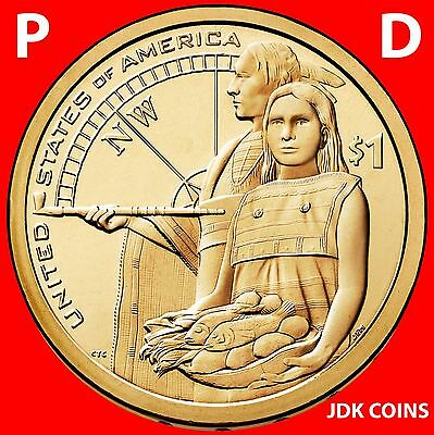 2014 P&d Sacagawea Native American Dollar Set From Uncirculated Us Mint Rolls
