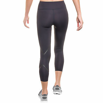 NEW 2XU Mid Rise Compression 3/4 Length Tights Gray & Black Reflective (S1-15)
