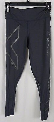 NEW 2XU Mid Rise Compression Full Length Tights Gray & Black Reflective (S1-8)