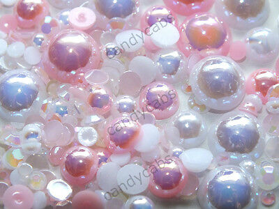 CandyCabsUK 10g SAMPLE Pearls Jelly Rhinestones Craft Decoden Mix Pink & White