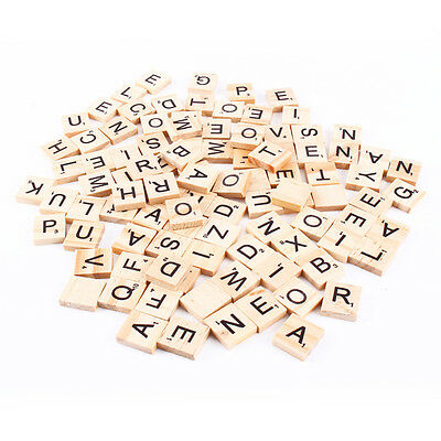100 pcs Wooden Wood Learning Alphabet Scrabble Tiles Letters Numbers Crafts