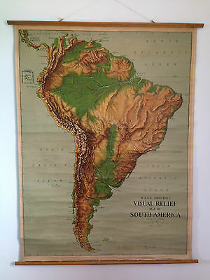 Antique W & Ak Johnston & Gw Bacon Ltd Visual Relief School Map Of South America