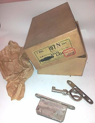 NOS CABINET MORTISE LOCK with STRIKE PLATE & KEY NICKLE FINISH    BOX OF 6