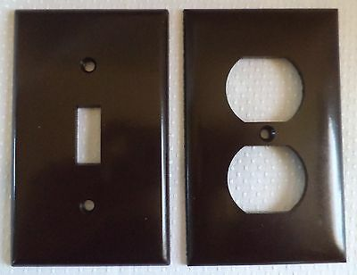 Lot of 2 LEVITON Bakelite Brown Smoothies Single Gang -Switch & Outlet- Plate