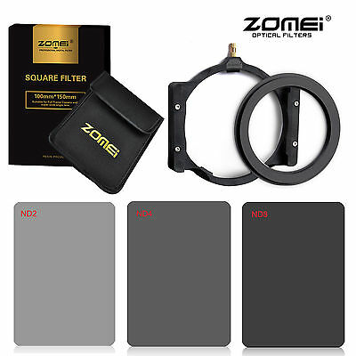 Zomei Square ND filter kit ND2+ND4+ND8+77mm Ring+Holder for Cokin Z 150*100mm