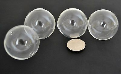 4 Large Glass Hollow Blown Globe Beads 30mm Empty Balls clear transparent