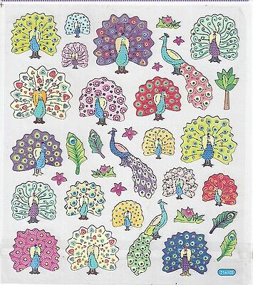 "ONE sheet STICKERS PEACOCKs in COLOR Colorful 6""X6.75"" Pink Green Red Yellow NEW"