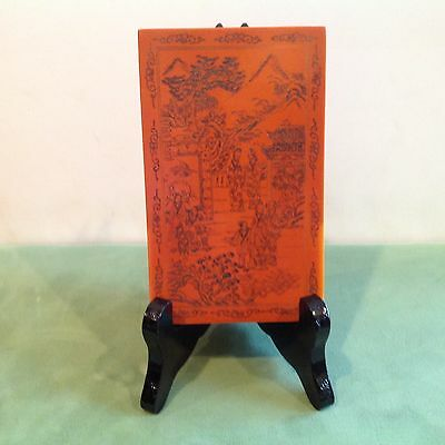Antique Vintage Asian Hand Carved Bakelite Two Sided Scene 5.25 x 3.25 W/Stand