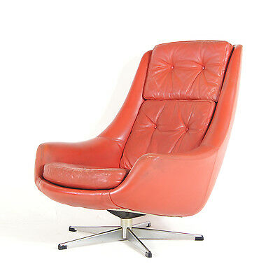 Retro vintage danish reclining swivel base leather for 70s egg chair