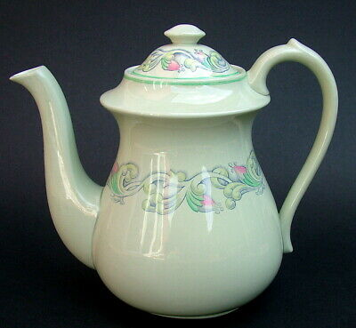 Vintage 1950's Spode Flemish Green Scroll 1.5pt Coffee Pot & Lid 18cm - in VGC