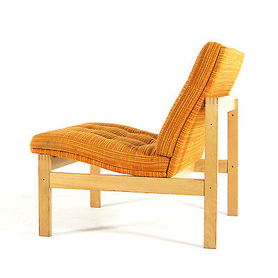 Retro Vintage Danish Poul Cadovius Oak Lounge Easy Chair Armchair Wool 1960s 70s