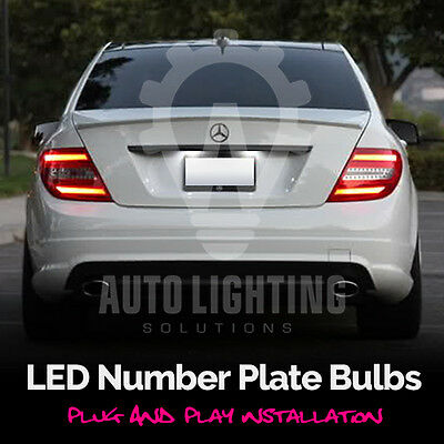 Mercedes C Class W204 XENON COOL WHITE CANBUS Number Plate LED Light Bulbs Set