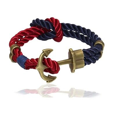 Handmade Multilayer Rope Cord Bracelet Wristband Anchor Bangle Mens Womens