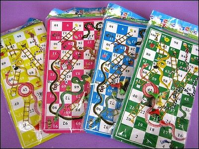 Bulk Lot x 10 Snakes + Ladders Board Game Kids Party Favor Novelty Toy New