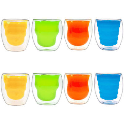 8Pcs Double Wall Tumblers Mug/Cup Glass/Glasses Hot/Cold Drink Coffee Tea 200ml