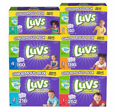 Luvs Ultra Leakguard Disposable Baby Diapers Choose From Size 1, 2, 3, 4, 5 or 6